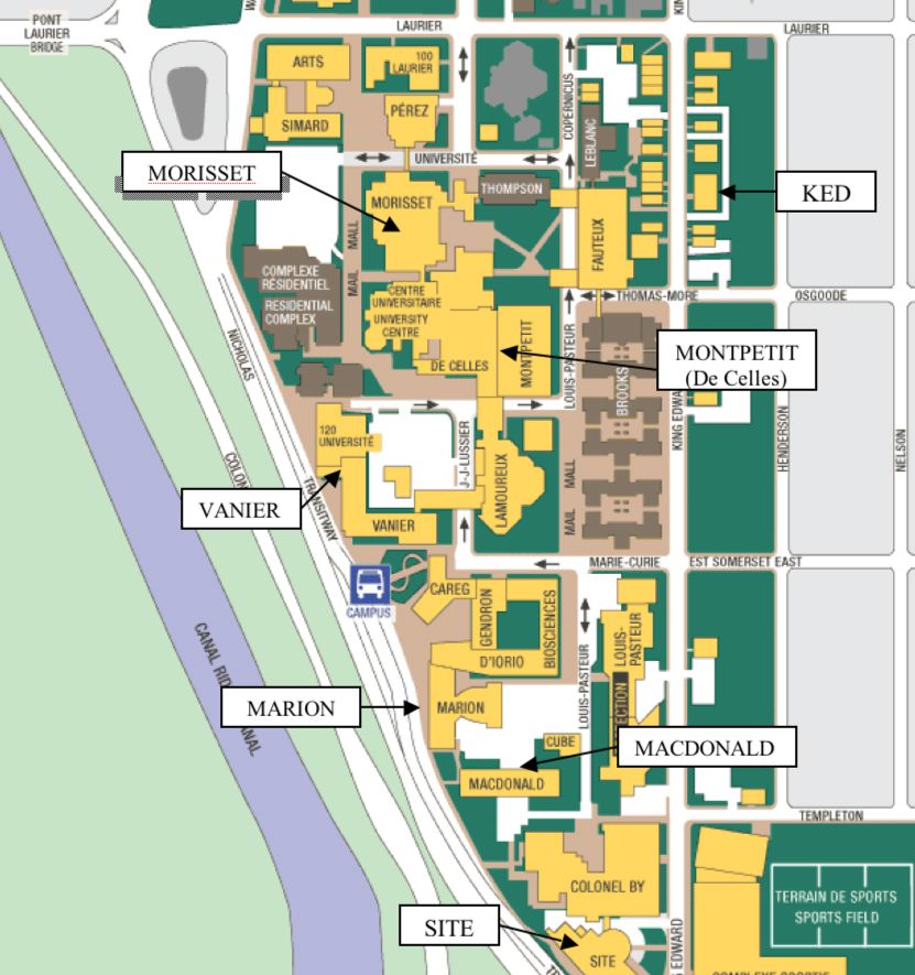 Uottawa Campus Map How to find the Math building